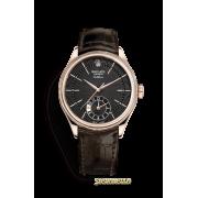 Rolex Cellini Dual Time ref. 50525 oro rosa 18kt nero nuovo full set