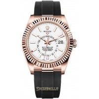 Rolex Sky-Dweller 42mm oro rosa 18kt ref. 326235-0004 bianco nuovo